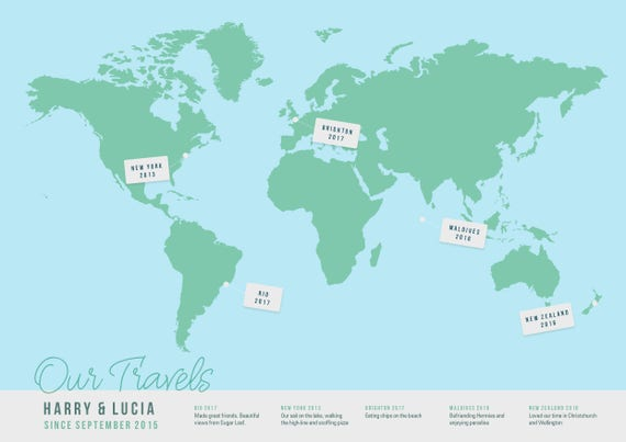 Bucket list travel map poster personalised world map faux like this item gumiabroncs Image collections