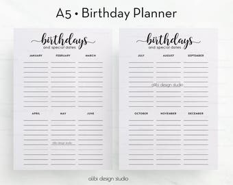 Birthday Planner, A5 Planner Insert, Birthday Tracker, Printable Planner, A5 Inserts, Birthday Calendar, Birthday Printable, Birthday List