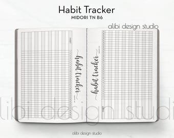 B6 TN, Habit Tracker, Midori TN B6, Traveler's Notebook, Midori Inserts, B6, Habit Tracker Printable, Travelers Notebook B6, Goal Tracker