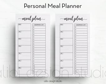Meal Planner, Personal Inserts, Shopping List, Weekly Meal Planner, Printable Planner, Personal Planner, Meal Tracker, Personal Filofax