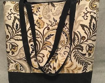 Large Brown and Black Paisley tote bag beach bag shopping bag