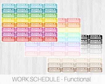 Work Schedule - || Planner Stickers || Functional Stickers