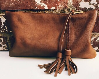 Camel Genuine Leather Zipper Clutch- Leather Handbag- Large Leather Pouch- Leather Bag with double tassel. Leather pouch.