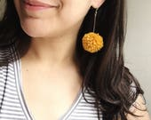 Small Pom-Pom Earrings - Mustard