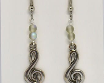 Shimmering grey treble cleff earrings