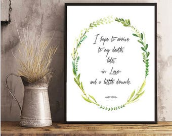 Atticus Quote, In Love, Wall Art, Home Decor, Green, Plants, Floral, Quote Art, Atticus, Atticus Print, Atticus Finch
