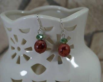 """Earrings """"Palmsamen Red"""" 925 silver"""