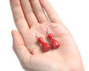 Red Chess Pawn Figure Dangle Earrings