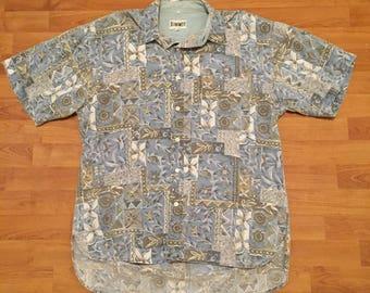 Jeanswest Vintage 90s Floral Print Button Front Shirt Short Sleeve Blue Mens M