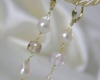 Saltwater Akoya Baroque earrings Imperial Topaz Klappbrisuren 925 Vergoldet Rose Quartz or gold filled