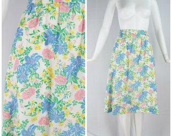 Vintage Womens 1970s White and Colorful Floral Print Lined Skirt   Size S