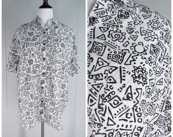 Vintage Womens 1980s Black & White Graphic Print Button Up Short Sleeve Shirt | Size L