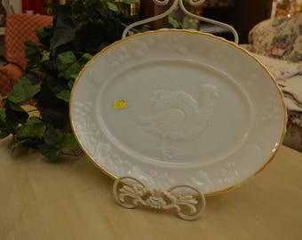Thanksgiving Platter ~ White with a Gold Trim and a Image of a Turkey on it