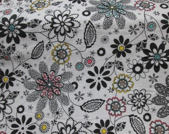 Cotton fabrics, cotton fabric 100% floral white background with flower black