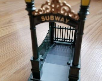 "Vintage Department 56 ""City Subway Entrance"" Christmas Village Model Train RR Scenery, Dept 56"