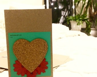 Cork Heart With Floral decoration Romantic Blank Card