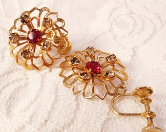 Antique Victorian Earrings, Openwork Dangle Earrings, 10K Rolled Gold, Screw Back, Red and White Rhinestones, 1800s Antique Gold Earrings.