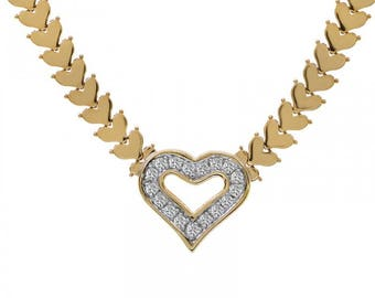 1.00 Carat Round Cut Diamond Heart Shape Necklace 14K Yellow Gold