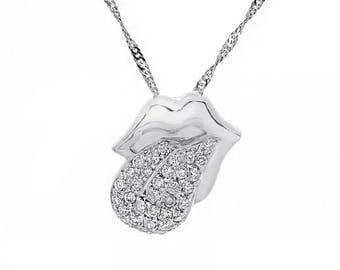 0.50 Carat Round Diamond Tongue & Lip Pendant on Singapore Chain 14K White Gold