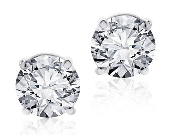 1.41 Carat Round Cut Diamond Stud Earrings F-G/VS2 14K White Gold