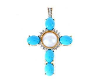 0.40 Carat Turquoise, Mabe Pearl & Diamond Cross Pendant 14K Yellow Gold
