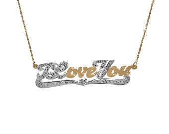 "0.15 Carat Diamond 'I Love You' Pendant Necklace 18"" 14K Two Tone Gold"