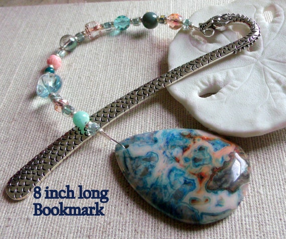 Gemstone bookmark - teardrop crazy lace agate  - aqua beaded page marker - Gift for reader - book club  -  Teachers - students - dragon