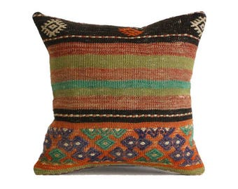 Anatolian Embroidery Woven Kilim Pillow 18x18 Navajo Pillow Boho Pillow Turkish Rug Pillow Kilim Kissen Turkey Pillow Rustic Pillow g294