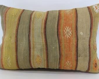 Turkish Kilim Pillow Home Decor 16x24 Decorative Kilim Pillow Handwoven Kilim Pillow Ethnic Pillow Cushion Cover SP4060-550