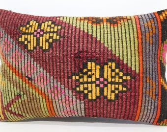Flower Yellow Color Kilim Pillow 16x24 Embroidered Kilim Pillow Red Green Color Kilim Pillow Sofa Pillow Cushion Cover  SP4060-637