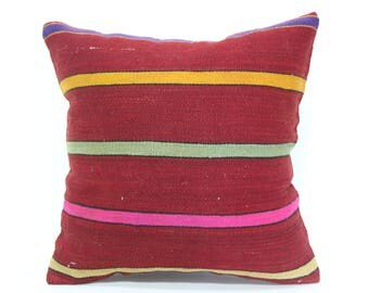 16x16 Red Multicolor Kilim Pillow Sofa Pillow Ethnic Pillow Ethnic Pillow 16x16 Handwoven Kilim Pillow Cushion Cover  SP4040-3244