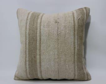 20x20 Naturel White Kilim Pillow Organic Pillow 20x20 Decorative Kilim Pillow Fllor Pillow Bohemian Kilim Pillow Cushion Cover SP5050-2196