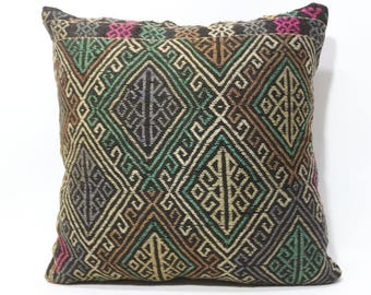 Embroidery Embroidered Kilim Pillow Fllor Pillow 24x24 Decorative Turkish Kilim Pillow Room Decor Cushion Cover SP6060-1254