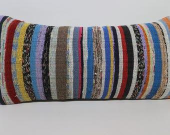 Nature Kilim Pillow Ethnic Pillow Sofa Pillow Boho Pillow 12x24 Multicolor Kilim Pillow Striped Kilim Pillow Home Decor  SP3060-1423
