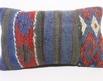 Bohemian Kilim Pillow Throw Pillow 12x20 Turkish Kilim Pillow Naturel Kilim Embroidered Kilim Pillow Lumbar Cushion Cover SP3050-1709