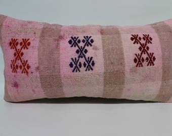 12x24 embroidered kilim pillow striped pink kilim pillow 12x24 handwoven turkey kilim pillow  decorative pillow throw pillow   SP3060-1576