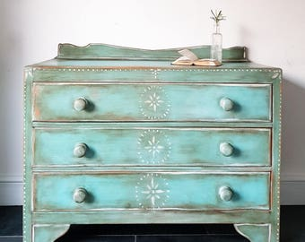 SOLD - Bohemian Folk Handpainted Bespoke Chest of Drawers