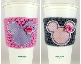 Mickey Mermaid Iridescent Scales Coffee Cup Cozy / Crochet Coffee Sleeve / Reusable Cozie / Customizable