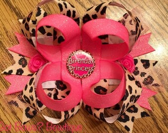 Birthday Princess Stacked Boutique Bow