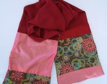 Designer women RESERVE rose red mandala silk scarf