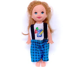 Vintage 1994 Mattel Baby Barbie Kelly Club Doll L'il Friends Sister Small Little Complete Outfit 90s Girl Suspenders Blue Plaid Pants Retro