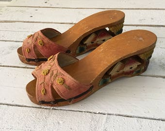1940's Hand Carved Vintage Wood Platform Floral Embroidered Oriental Asian Wedges