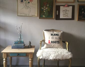 """Throw Pillow """"Blame it on my Root's"""" with Red boots  pillow cover 18 x 18 inches Includes Pillow insert"""