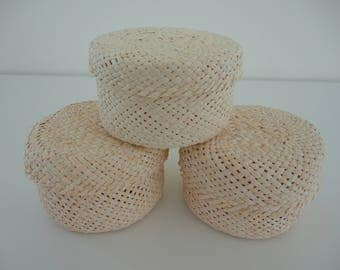 SET of 3 - 'Jipi' Straw Small 'Tenates' or Baskets / Decorative Baskets / Handmade Baskets / Jewelry Boxes / Gift Containers