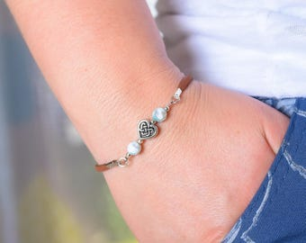 Hand Crafted Faux Suede Bracelet with Semi Precious Stone Beads and Heart Charm - Gift Idea Jewelry