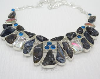 Boulder Opal Clear Topaz and Blue Topaz Sterling Silver Necklace