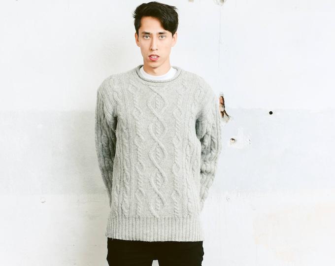 Men's Fisherman Sweater . Vintage 90s Aran Cable Knit Sweater Off Grey Men Gift Wool Winter Pullover Oversized Sweater Knitwear . size Large