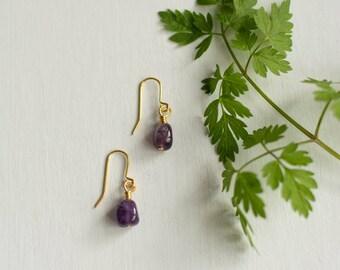 Amethyst Earrings | Real amethyst, dainty earrings for women, minimal earrings, February birthstone, Wife amethyst gift, delicate jewellery