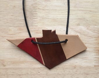 Leather necklace, leather, geometric jewelry