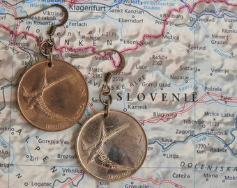 Slovenia coin earrings - 2 different designs - made of original coins from Slovenia - wanderlust - globetrotter - swallow